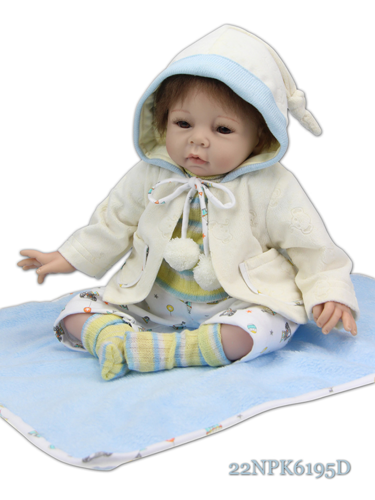 756a7c2297ffd 22 Inch Silicone Reborn Baby Dolls Girls Toy Baby Doll Newborn With ...